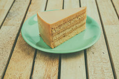 Thai tea cake. On wood table Royalty Free Stock Photography
