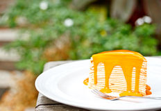 Thai tea crepe cake 2 Royalty Free Stock Images
