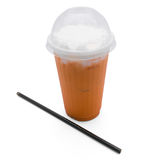 Thai tea in plastic glass Royalty Free Stock Photos