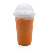 Thai tea in plastic glass Royalty Free Stock Photography