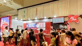 Thai Teaw Thai exhibitors label at Queen Sirikit National Conven. Bangkok, Thailand - March 6, 2016: Air Asia Boot, Thai Teaw Thai exhibitors label at Queen Stock Image