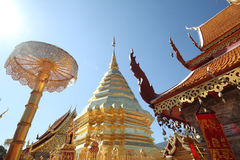 Thai temple. Doi Suthep temple on north of thailand Royalty Free Stock Image