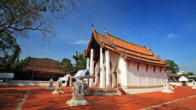 Thai temple against blue sky at wat Prasart Royalty Free Stock Photos