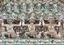 Thai temple ancient tale sculpture Stock Photos