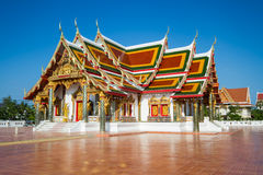 Thai Temple art decorated in Buddhist church. Temple pavilion, temple hall, monk's house Stock Photo