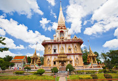 Thai temple. And blue sky with clouds Stock Photography