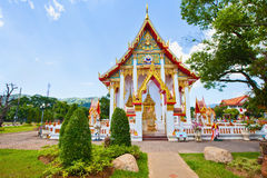 Thai temple. And blue sky with clouds Royalty Free Stock Images