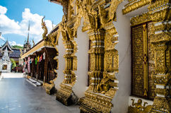 Thai temple on blus sky. Thai temple on lamphun asia Royalty Free Stock Image