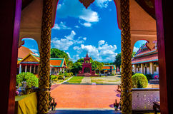 Thai temple on blus sky. Thai temple on lamphun asia Royalty Free Stock Photo