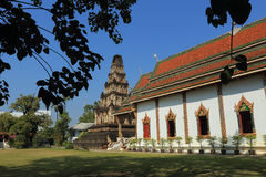 Thai temple of buddhism, Wat Cham Thewi in lamphun Royalty Free Stock Image