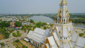 Thai temple church. Aerial view of thai temple church royalty free stock photo
