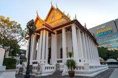 Thai temple church contrast with modern building Royalty Free Stock Photos