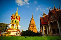 Thai temple. Colorful Thai temple and blue sky Royalty Free Stock Photo