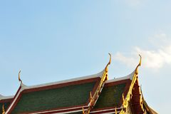 Thai Temple Decorate Roof. Buddhism Temple. gable apex. Royalty Free Stock Image