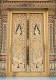 Thai Temple door painting Stock Photo