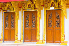 Thai temple door sculpture Stock Image