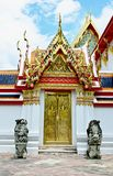 Thai temple door sculpture Royalty Free Stock Images