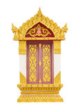 Thai temple door sculpture. Thai Door Frame Isolated o white Stock Photo
