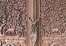 Thai temple doors. Royalty Free Stock Photos