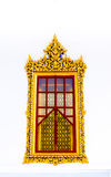 Thai temple golden window. On the white background Royalty Free Stock Images