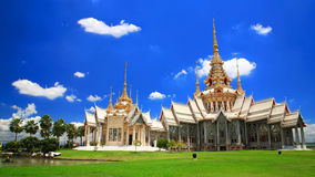 Thai temple landmark named Wat Sorapong in Korat Royalty Free Stock Images