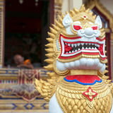 Thai temple lion Stock Images