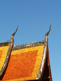 Thai temple. A little curved roof of Thai temple Royalty Free Stock Photos