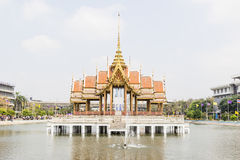 Thai temple in middle of pool at at Ramkhamhaeng University, Thailand Stock Photography