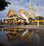 Thai temple with mirror Stock Images
