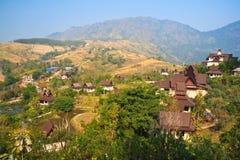Thai Temple With Mountain Stock Image