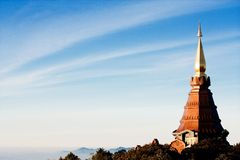 Thai temple on the mountain Royalty Free Stock Photography