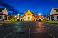 Thai Temple at night, Wat Benchamabophit in Bangkok, Thailand Royalty Free Stock Photos