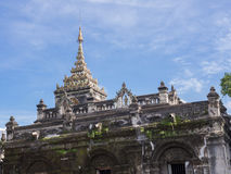 Thai temple pagoda with blue sky background. Wat pa pao stock photography