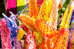 Thai Temple Paper Decoration. Many colored paper decoration used in Thai temples Royalty Free Stock Photography