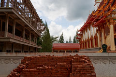 Thai temple during repairing Royalty Free Stock Photography