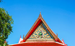 Thai Temple Roof and blue sky Stock Photo