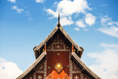 Thai temple roof with blue sky northern art in Thailand Stock Photo