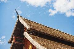 Thai temple roof with blue sky northern art in Thailand Stock Images