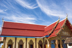 Thai temple roof with blue sky at Phra Borommathat temple Tak Province ,Thailand Royalty Free Stock Photography