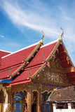 Thai temple roof with blue sky at Phra Borommathat temple Tak Province ,Thailand Royalty Free Stock Photos