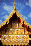Thai temple roof with blue sky Royalty Free Stock Photography