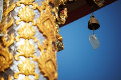 Thai temple roof with blue sky Royalty Free Stock Images
