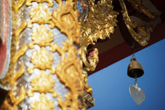 Thai temple roof with blue sky Royalty Free Stock Photo