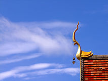 Thai temple roof with gable apex on the top Royalty Free Stock Photo