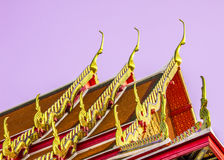 Thai temple roof_3. Golden and colorful architecture roof of thai temple Stock Photos