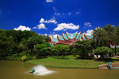 Thai temple roof inside the garden at Wat Sorapong Stock Photography