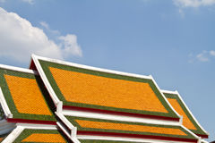 Thai temple roof, Phra Pathom Chedi, tathe llest stupa in the world Stock Photos