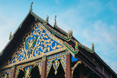 Thai temple roof and sky. Thai temple roof and blue sky on evening Royalty Free Stock Image
