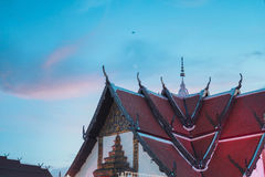 Thai temple roof and sky. Thai temple roof and blue sky on evening Stock Photography