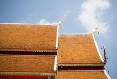 Thai temple roof with sky Stock Images